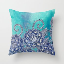Mermaid's Garden - Navy & Teal Floral on Watercolor Throw Pillow
