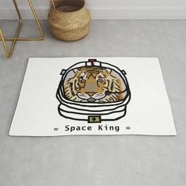 Space King Tiger Portrait Rug