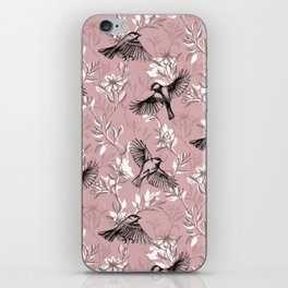 Flowers and Flight in Monochrome Rose Pink iPhone Skin
