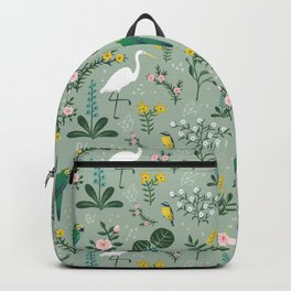 """Tropical Birds and Flowers"" on Sage Green by Bex Morley Backpack"