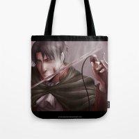 levi Tote Bags featuring Shingeki no Kyojin - Levi by Paleblood