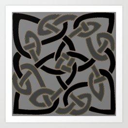 Charcoal Grey Color Celtic Art Art Print