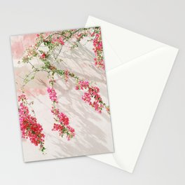 Sunkissed pink flowers on textured wall Stationery Cards