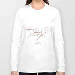 London Subway Map Print - London Metro Long Sleeve T-shirt