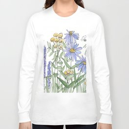 Asters and Wild Flowers Botanical Nature Floral Long Sleeve T-shirt