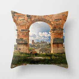 A View Through Three Of The North-western Arches Of The Third Storey Of The Coliseum In Rome  Throw Pillow