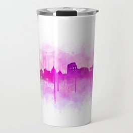 Rome city skyline HQ v05 pink Travel Mug