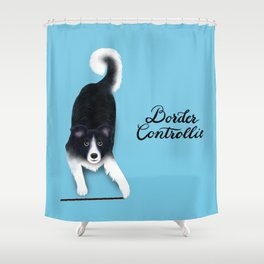 Border Controllie (Blue Background) Shower Curtain