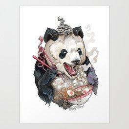Panda Eating Ramen In A Tin Foil hat Art Print