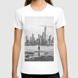 New York City Skyline Views and Vibes Black and White T-shirt