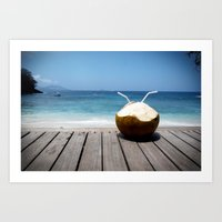 coconut wishes Art Prints featuring Coconut by M Paris