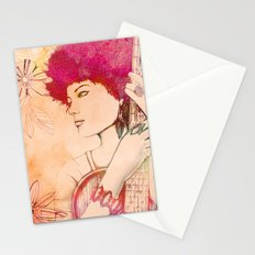 Afro musician girl face african girl Stationery Cards
