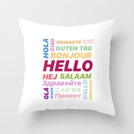 "Multilingual ""Hello"" Digital Art Throw Pillow"