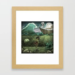 The War of Moon and Sea Framed Art Print