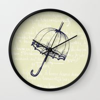 umbrella Wall Clocks featuring Umbrella by Mr and Mrs Quirynen