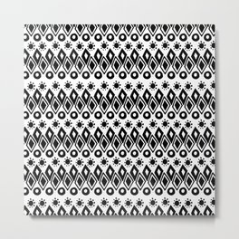Hand painted black white watercolor abstract geometric tribal Metal Print