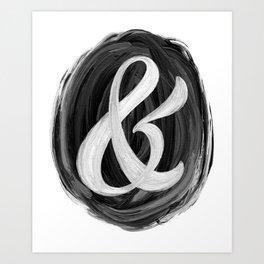 Thick Swirl Ampersand Black & White Art Print