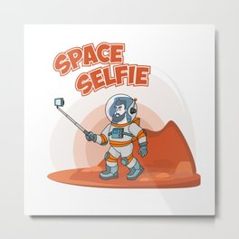 Astronaut making selfie. Modern creative illustration men with phone in universe on red planer with Metal Print