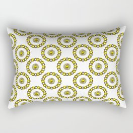 Gold and Silver Polka Dot Mandala Rings Pattern Rectangular Pillow