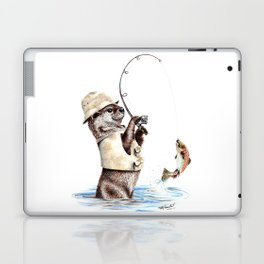 """ Natures Fisherman "" fishing river otter with trout Laptop & iPad Skin"