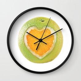 Orange heart Wall Clock
