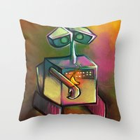 wall e Throw Pillows featuring WALL-E by tidlin