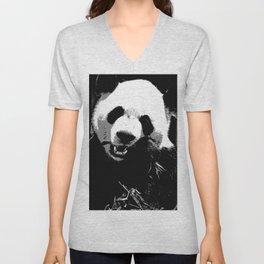 Cute Giant Panda Bear with tasty Bamboo Leaves Unisex V-Neck