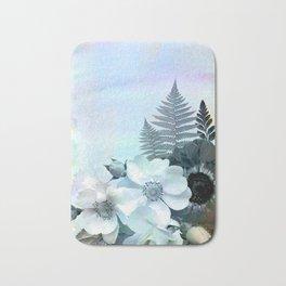 baby blue floral pattern Bath Mat