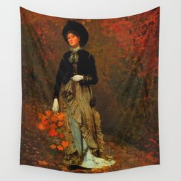 Winslow Homer's Red Autumn Leaves and Foliage female portrait painting bedroom wall decor Wall Tapestry