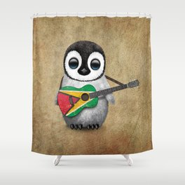 Baby Penguin Playing Guyanese Flag Acoustic Guitar Shower Curtain