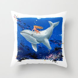 A Girl & Her Whale Throw Pillow