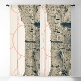 Wonder Rift // Abstract Vintage Mountains Summer Sun Surfer Beach Vibes Drawing Happy Wall Decor Blackout Curtain