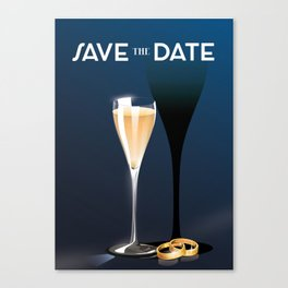 Save the Date Glass and rings Canvas Print