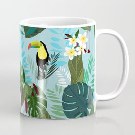 Tropical Leaves With Flamingo, Toucan and Parrot Exotic Pattern Coffee Mug