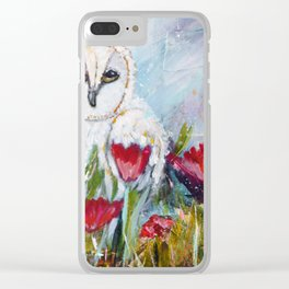 Owl in Poppies Clear iPhone Case