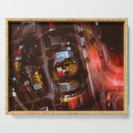 Berlin Night Aerial View Serving Tray