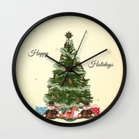 christmas tree Wall Clocks featuring Christmas Tree by haroulita
