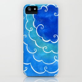 Silver linings on blue iPhone Case