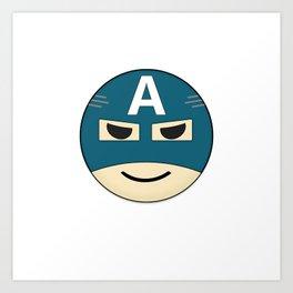Captian A Emoji Art Print