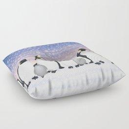 emperor penguin colony Floor Pillow