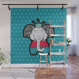 Doodle Elephant on Blue Background Wall Mural