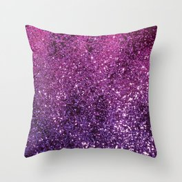 Purple Pink Ombre Lady Glitter #1 #shiny #decor #art #society6 Throw Pillow