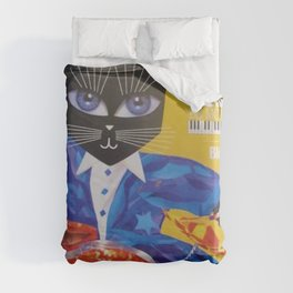 1994 Montreal Jazz Festival Cool Cat Poster No. 3 Gig Advertisement Duvet Cover