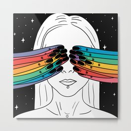 Open your eyes in space Metal Print