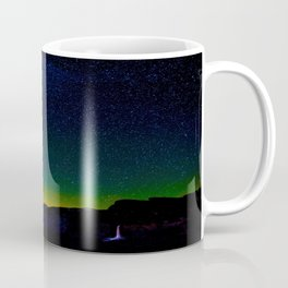 Starry Night Sky Stars Landscape Silhouette Colorful Green Turquoise Sky Ombre Coffee Mug