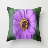rileigh smirl Throw Pillows featuring Purple Flower by Rileigh Smirl