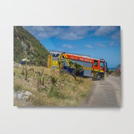 Fire Engine On The Coast Metal Print