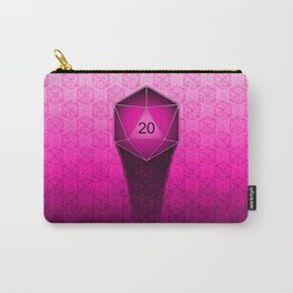 D20 All I Do Is Crit!  Hot Pink Ombre Carry-All Pouch