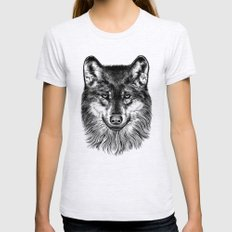 Canis Lupus (Gray Wolf) MEDIUM Womens Fitted Tee Ash Grey