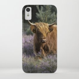Red highland cow in purple field iPhone Case